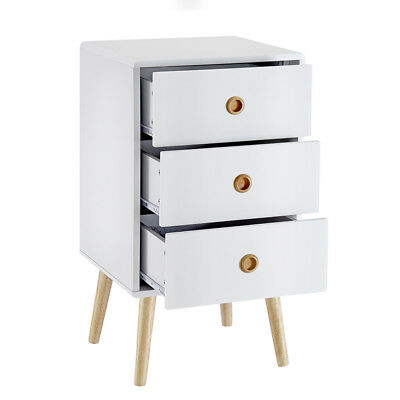 Panana 3-Drawer Bedside Cabinet Table White Oak Legs Retro Modern Style, Quality