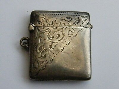 Antique-Late Victorian Solid Silver Half Engraved Fob vesta Case-B'ham-c1901