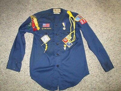 Vintage Official BSA Boy Scouts of America Cub Shirt w/ Patches Pins Ribbons