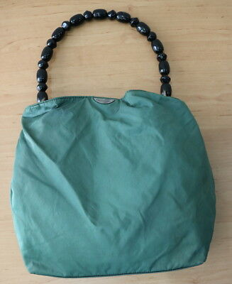 Authentic Christian Dior Green Nylon vintage Party Tote Shoulder Bag