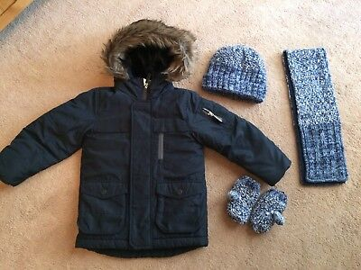 Boys Next Coat With Next Hat,scarf and Mittens Age 3/4 In A1 Condition