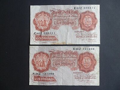 2 Bank Of England 10/- Shilling  Notes  - P.s.beale -  Well Circulated Condition