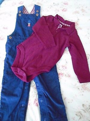 NEW M&S Boy's dungarees and top, navy and maroon, 18 - 24 months