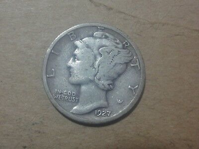 1927 P 10C Mercury Dime  90 % Silver US Coin ME810 Old (TUCK)
