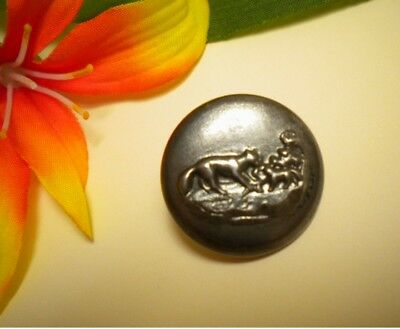 Antique Wolf Or Fox Returning To Den Of Pups Metal Picture Button Paris Back