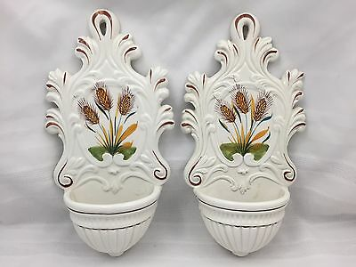 """Pair (2) Ceramic Wall Pockets-White Hand-Painted Wheat Design-12"""" Inches Tall"""