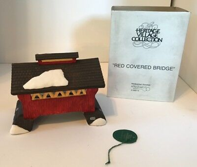 Dept 56 Dickens Heritage Village Collection The Red Covered Bridge Christmas