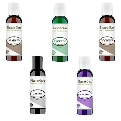 5 pc. Carrier Oil Variety Set Lot 2 oz. For Aromatherapy Essential Oils, Massage