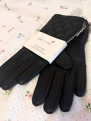 Per Una M&S Leather Black Gloves Water Resistant Women quilted M-L RRP £39.50