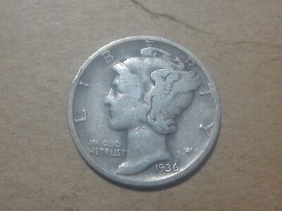 1936 D 10C Mercury Dime  90 % Silver US Coin ME419 Old (TUCK)