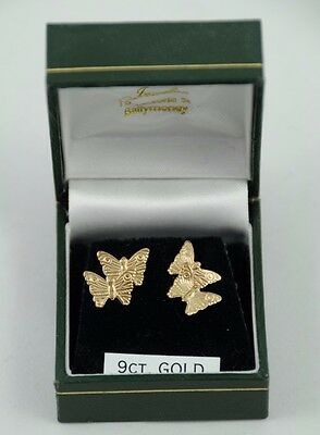 9ct Gold Butterfly Earrings in a Box (no backs) Excellent condition