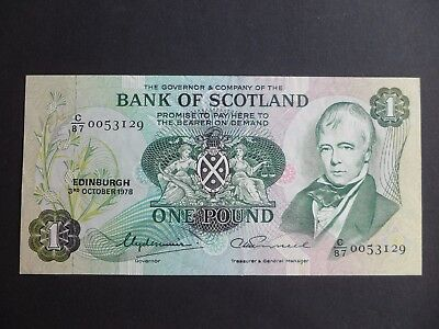 BANK OF SCOTLAND £1 NOTE -  C/87 0053129 - DATED 3rd OCTOBER 1978