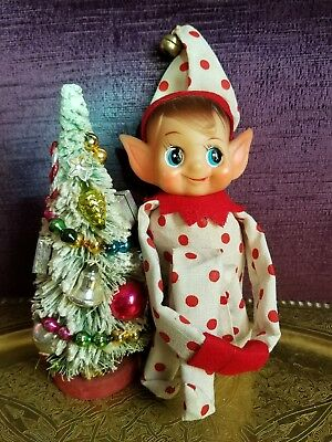 Vintage Straw Field Red Polka Dot Pixe Elf  On A Shelf Knee Hugger