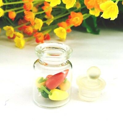 Mini Chilies Glass Jar Thai Clay Home Decor Miniature Handicrafts Collectibles