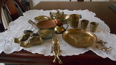 Joblot  Of Vintage Brassware Frog Boots Dog Plate /fox Letter Rack Etc.