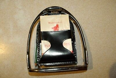 Vintage Bridge playing card set in horse stirrup never used by Vantage real hide