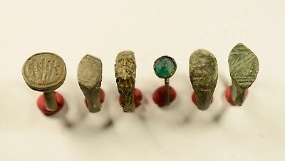 Lot Of 6 Roman / (Post) Medieval Decorated Wearable Rings - Great Artifacts