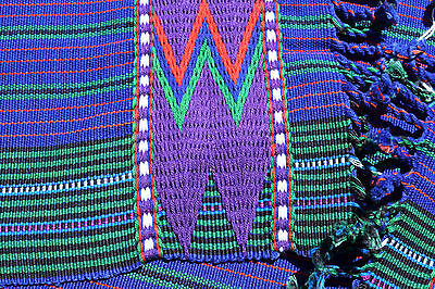 Handmade Tapestry - table runner CUALPA - from Guatemala blue- purple- green