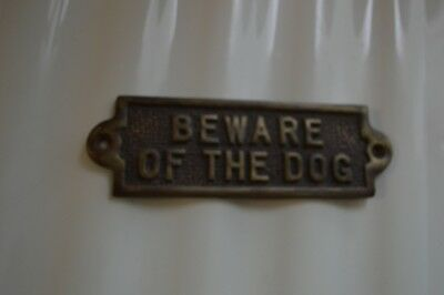 Quality Made Heavy Solid Brass Beware Of The Dog Sign
