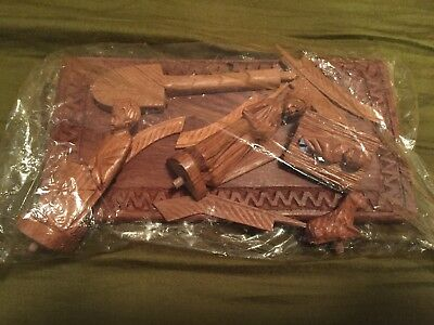 AS IS Nativity Set Hand-carved Madagascar ROSEWOOD Creche 14/15 Pcs AS IS
