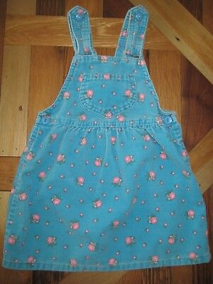 Oshkosh Girl's Size 4T Blue Floral Corduroy Jumper Dress With Bow Made in USA