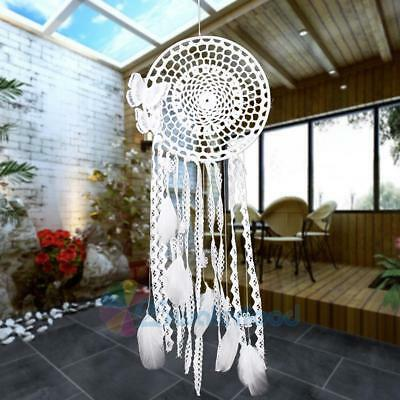 White Handmade Butterfly Dream Catcher with Feathers Bead Hanging Decor Ornament