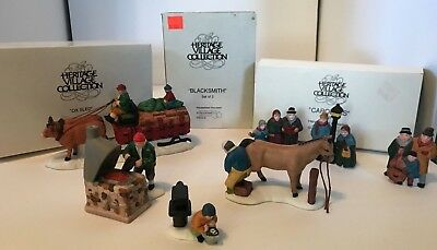 Dept 56 Dickens Heritage Village Collection Ox Sled_Blacksmith_Carolers Xmas