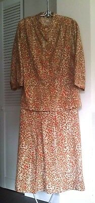 Vintage Plaid Skirt Suit Polyester Orange Tan Cream Gold Button Down Blouse