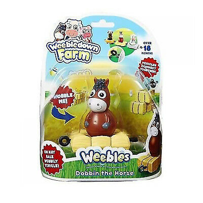 Weebledown Farm Weebles Dobbin the Horse Weeble On A Bale Wobbily Vehicle Toy