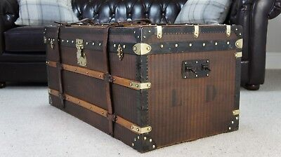 Beautiful Large French Striped Canvas Antique Steamer Trunk