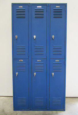 "Used Blue Metal Lockers - 6 Openings a Set - 36""Wide X 12""deep X 72""High"