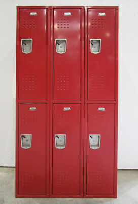 "Used Red Metal Lockers - 6 Openings a Set - 36""Wide X 15""deep X 72""High"