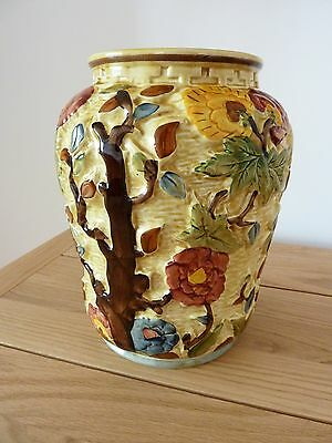 Vintage H.j Wood Indian Tree Design Large Vase Staffordshire Hand Painted