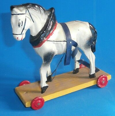 antique    small  paper  mache  and wooden  horse  pull toy  5  inches
