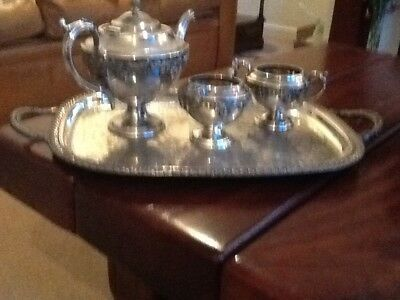 Silver plate three piece Tea set with Tray