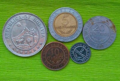 Bolivie : Lot De  5  Monnaies - Avec :  50 Centavos - 1939 - Voir Photos