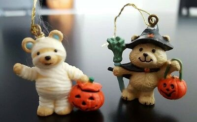 """6 Halloween Ornaments Mini 1"""" with hanging string attached. Ghosts, mummy, etc."""