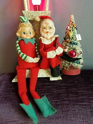 2 Vintage Pixie Elf & Santa Knee Huggers With Jingle Bells Inside