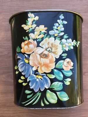 Vintage Harvell Toleware Metal Trash Can Waste Basket Floral-Tole