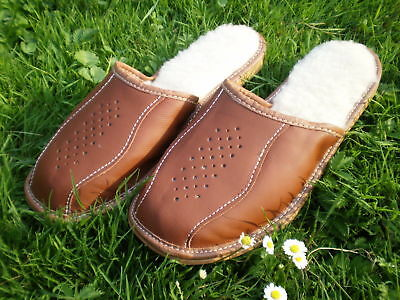 Brand New Real Leather Wool Men's Slippers Size 7 8 9 10 11