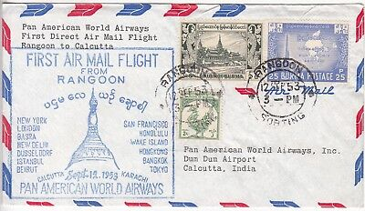 Burma: Pan American World Airways Cover; Rangoon to Calcutta, 12-14 Sept 1953