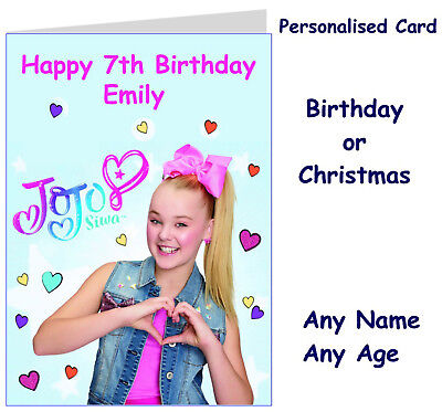 Personalised JoJo Siwa Birthday or Christmas Card JJ' Sworld any name /age girl