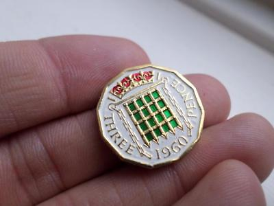 Vintage Hand Painted Threepence Coin 1960. Lucky Charm. Great Christmas Present