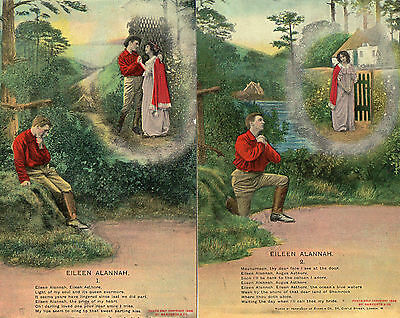 "2 x BAMFORTH SONG POSTCARDS ""EILEEN ALANNAH"" 1 & 2 in Exc Condition  (Ref: LA)"