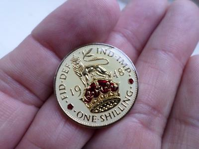 Vintage Enamelled One Shilling Coin 1948. Lucky Charm Or Christmas Present