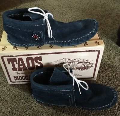 Vintage Leather TAOS Native American Indian Moccasins Women's Size 6.5 Blue