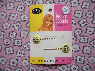 Two vintage 60's 70's kitsch hair bobby pins, clips, grips, slides, yellow panda