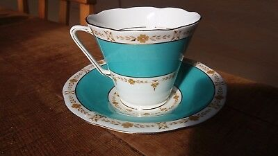 Collectible Green & Gold Grafton China Cup and Saucer