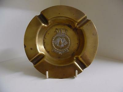 Vintage and Very Scarce WW2 HMS Eagle Aircraft Carrier Brass Ashtray
