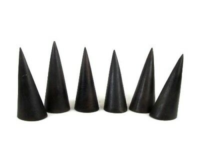 Set of Six Brown Tropical Wood Ring Display Cones, 2 3/4 Inch